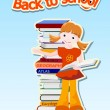 Girl with books  - back to school concept — Stock Vector