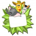 Little cartoon elephant, giraffe and zebra — Stock Vector