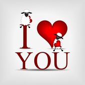 """Red heart with text """"I love you"""" and sheep — Stock Vector"""