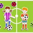 Stock Vector: Boy and girl - football (soccer) theme