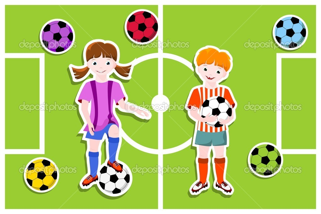 Young football players with ball,  football (soccer) theme - vector illustration — Stock Vector #10433097