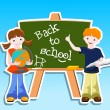 Children with blackbord - back to school concept — Stock Vector #10497797
