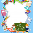 图库矢量图片: Children with blackbord and suppliers - back to school concept