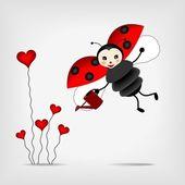 Ladybug with flower — Stock Vector