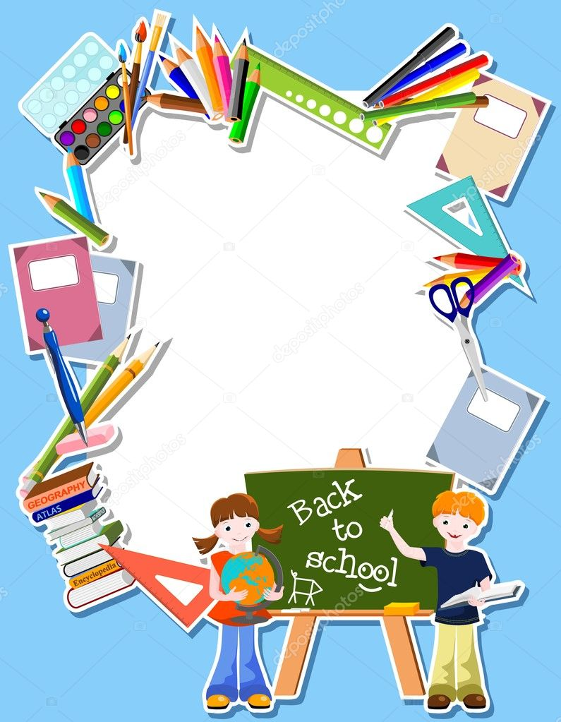 Boy and girl  with blackboard,  and text Back to school - vector illustration  Stock Vector #10497803