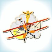 Animals in the biplane — Stock Vector