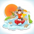 Two children on red canoe — Stock Vector