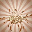 Hand-drawn roses on background with brown stripes — Stock Photo #10661399