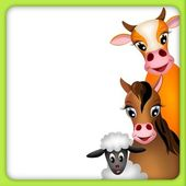 Cute cow, horse and lamb in green frame — Stock Photo