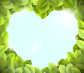 Blue sky in heart frame from green leaves — Stock Photo