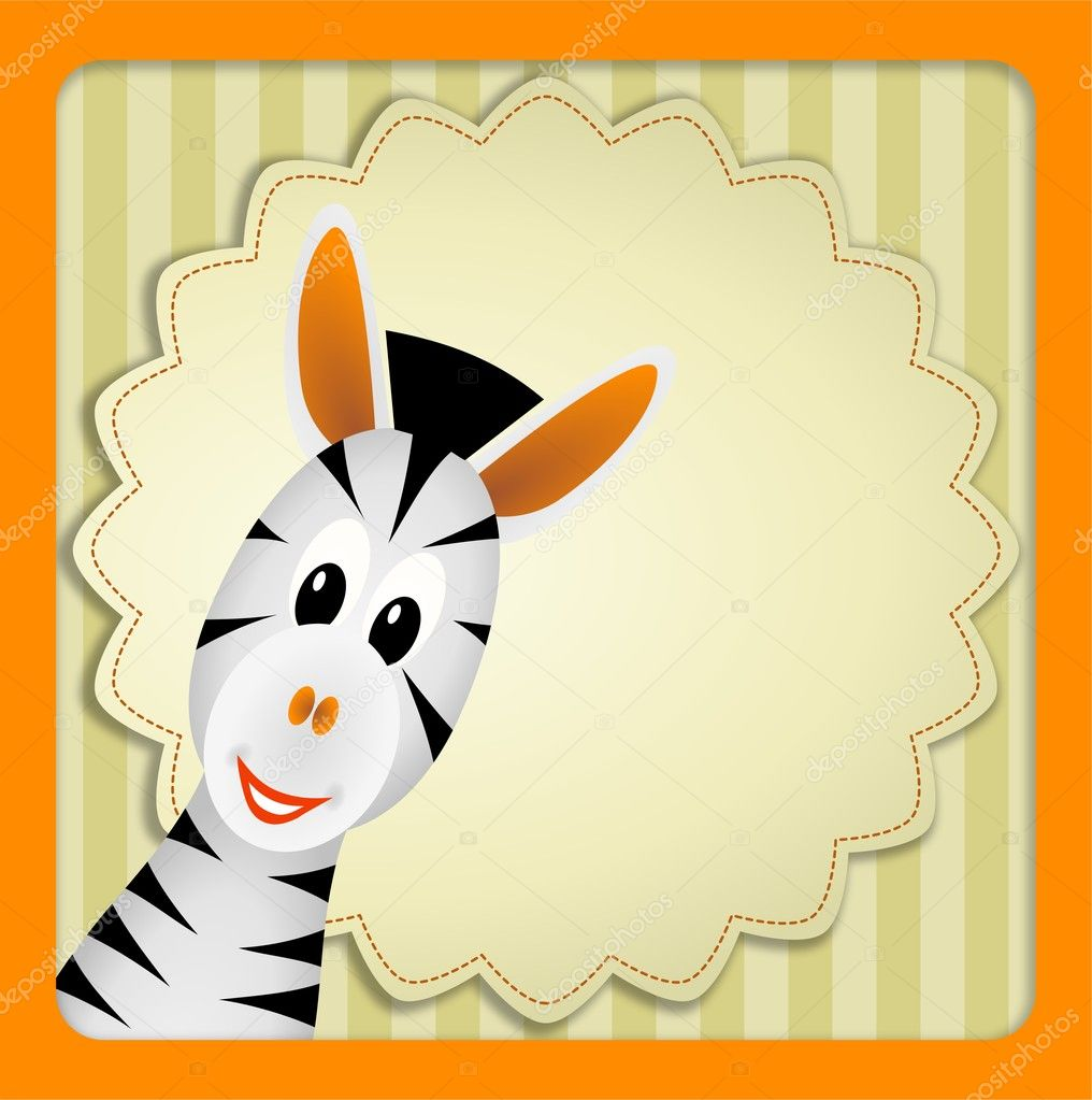 Bitmap illustration of cute young zebra on decorative background - birthday invitation  Stock Photo #10661422