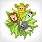 Little cartoon elephant, giraffe, lion and zebra — Stock Vector