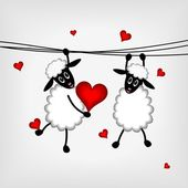 Two sheep with red hearts — Stock Vector