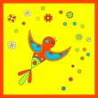 Flying colorful bird with flowers — Stock Vector