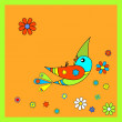 Stock Vector: Flying colorful birdie