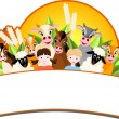 Stock Vector: Children and happy farm animals