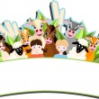 Children and happy farm animals — Imagen vectorial