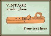Hand getrokken houten vliegtuig, handplane — Stockvector