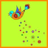 Colorful bird with flowers — Stock Vector