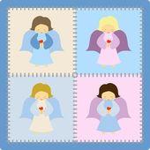 čtyři roztomilé barevné andělé na patchwork pozadí — Stock vektor