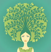 Woman With Tree — Stock Vector