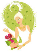 Woman Receiving Gift — Stock Vector