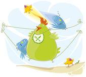 Cartoon birds — Stock Vector