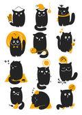 Cat In Seasons — Stock Vector