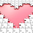 3D puzzle heart with white puzzle pieces - Stock Photo