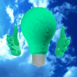 Eco lightbulb character. - Stock Photo