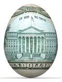 Bankbiljet van 10 dollar achterzijde in vorm van ei. — Stockfoto