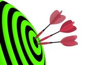 Three red darts hitting the target — Stock Photo
