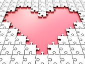 3D puzzle heart with white puzzle pieces — Foto de Stock