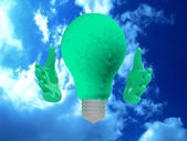 Eco lightbulb character. — Stock Photo