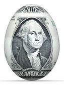 Billete de 1 dólar en forma de huevo. — Foto de Stock
