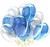 3d party balloons translucent colored blue. — Stock Photo