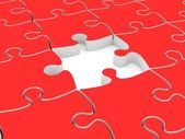 3D red jigsaw puzzles without one piece — Stockfoto
