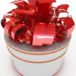 3d circle gift box with red bow.  — Stock Photo
