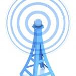 Communication antenna tower on white background — Stock Photo #10010097