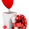Open Gift box with heart surprise over white background. 3d illustration. — Stock Photo