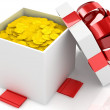 Gift box over white background with gold coins. 3d illustration. — Stock Photo #10010240