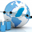 Airplane traffic with a globe and luggage — Stock Photo