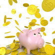 Raining gold coins and piggy bank — Stock Photo
