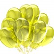 3d party balloons translucent yellow. Isolated on white background — Stock Photo