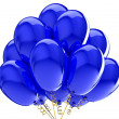 3d party balloons translucent colored blue. Isolated on white background — Stock Photo #10011033