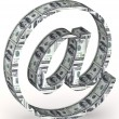 Email symbol wrapped 100 dollar banknote. — Stock Photo #10011232