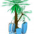 Royalty-Free Stock Photo: Luggage and palms on a white background.