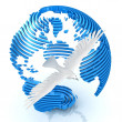Sliced abstract globe with dove — Stock Photo