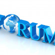 Forum text with globe. - Stock Photo