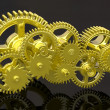 Gears isolated on black. Work concept. — 图库照片